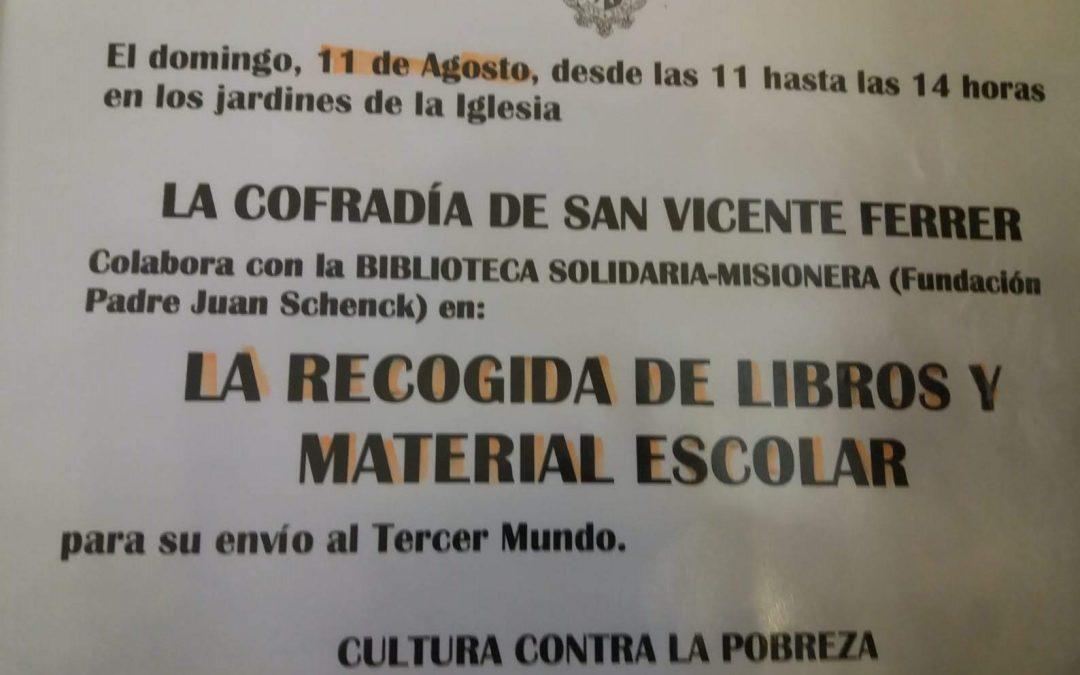 Recogida de libros realizada por la Cofradía San Vicente Ferrer de la Cañada (Paterna) Valencia