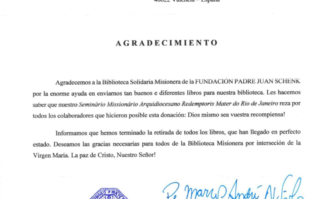 Carta de Agradecimiento de del rector del Seminário Missionário Arquidiocesano Redemptoris Mater do Rio de Janeiro