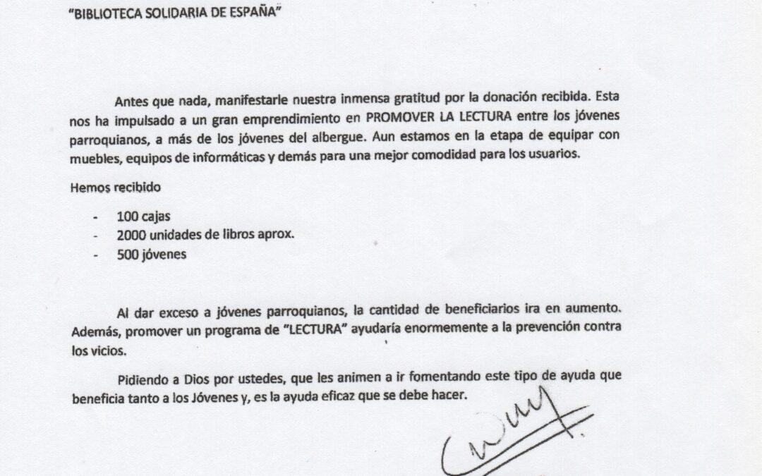 Carta de Agradecimiento de la Pastoral Carcelaria Asunción – Paraguay