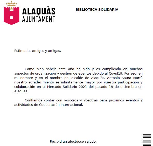 Escrito de agradecimiento del Ayuntamiento de Alaquás