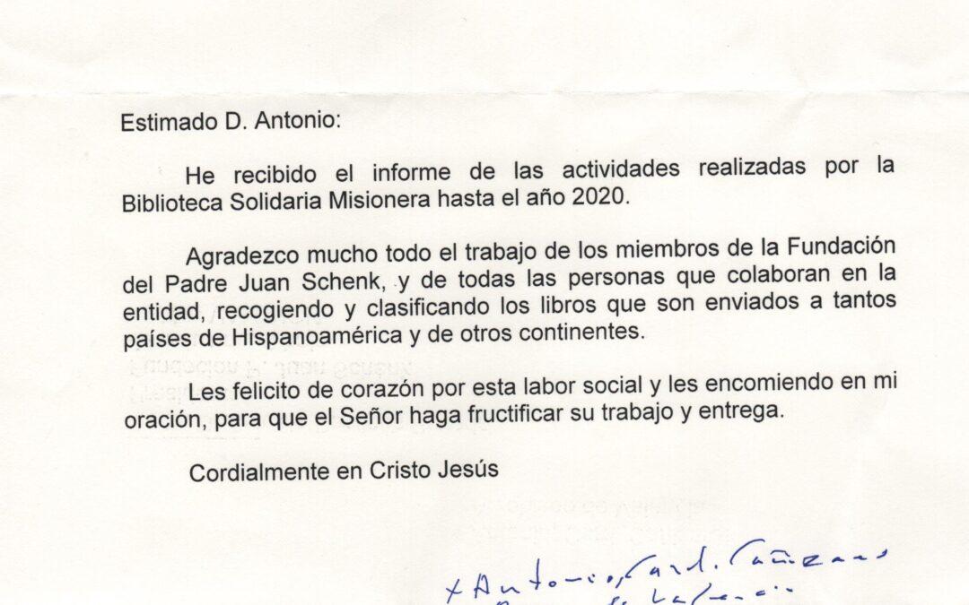 Carta de Agradecimiento del Cardenal Arzobispo de Valencia
