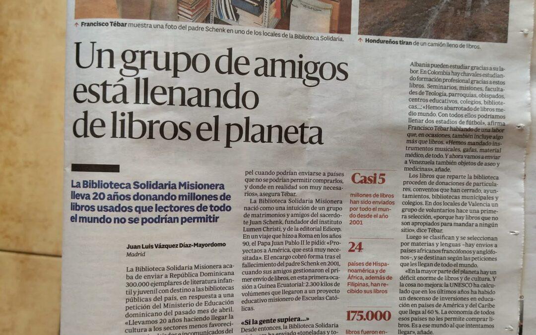 Reportaje en Alfa & Omega en el periódico ABC del día 8 de julio 2021. Un grupo de amigos está llenando de libros el planeta.
